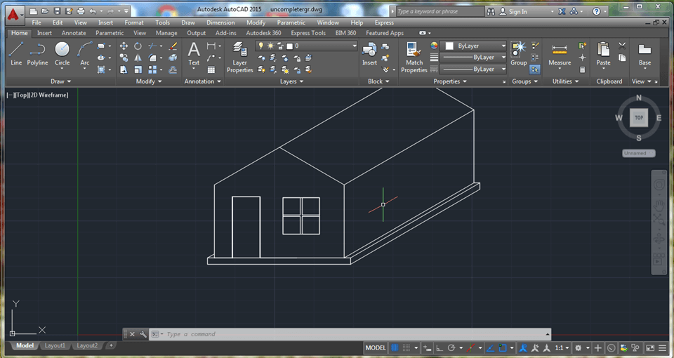 Line Drawing In Autocad : How to draw simple house in d using autocad the