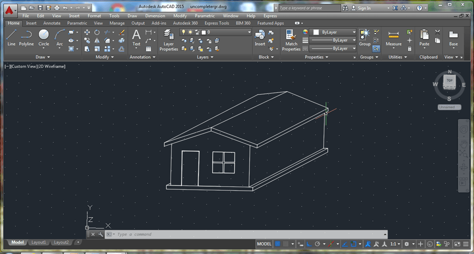How to draw simple house in 2d using autocad the Simple 2d cad